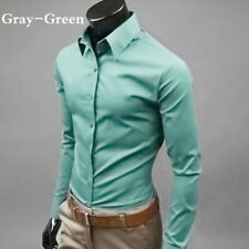 New Men's Casual Dress Shirt Slim Fit T-Shirts Formal Long Sleeve Tops Luxury.