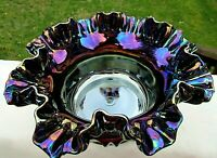 """Fenton Vintage 1980's Carnival Glass Grape & Cable Ruffled Bowl 9""""W x 4.5""""H"""