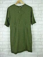 Revival Pencil dress Short sleeves Green, black polka dot print Sz 10
