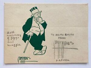 George McManus Jiggs 20th Anniversary Note 1932 Card Signed Cartoon Art