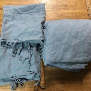 IKEA F/Q Duvet Cover/Pillowcases PUDERVIDA 100% Linen Blue FLAX Full/Queen