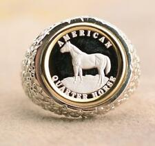 .999 PURE SILVER Quarter Horse Coin in S/S + 14kt Gold Nugget Coin Ring Size 10