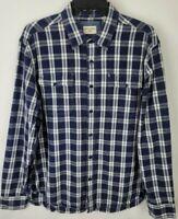 Dockers Mens Size Large Blue White Plaid Button Up Long Sleeve Dress Shirt