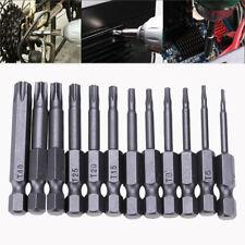 """12Pcs Security Bits Set Magnetic Torx Screwdriver Tool 1/4"""" Hex Shank T5-40 New"""