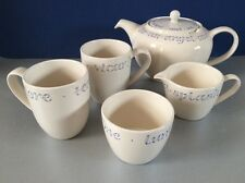 Whittard of Chelsea 'Wisdom in a Cup' 5 Piece White Tea Set with 2 Pint Teapot