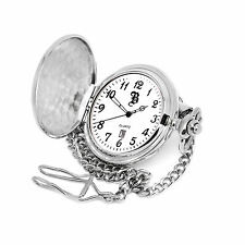 Personalised Silver Plated Date & Time Pocket Watch In Gift Box Engraved Gift
