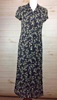 J Jill Women's Maxi Black Floral Dress cap sleeve V-neck Sz 4