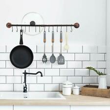 Iron Pipe Wall Mount  Hanging Utensil Holder Pot Rack with 14 S Hooks Rail