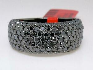 Mens 14K Black Gold Finish Black Diamond Round Cut Pave Wedding Band Ring 3.5 Ct