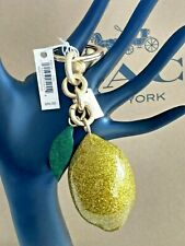 New With Tag Coach Glitter LEMON BAG CHARM Yellow and Gold Charm F32213 Was $90