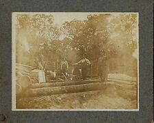 Steam Driven Saw Mill & Workers Posing Occupational Cabinet Photo c 1900?
