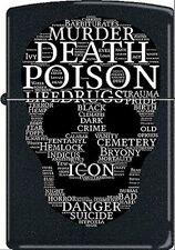 RARE Death Skull Of Words Black Matte CM1312 Zippo Lighter