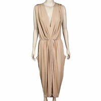 SHEIKE Women's Size 16 Beige Sleeveless V-Neck Gathered Waist Pockets Maxi Dress