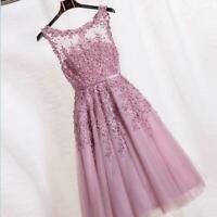 Short Lace Applique Prom Party Dresses Womens Wedding Evening Gown Pink Hollow