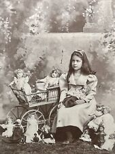 Super Rare Cabinet Photo - Sweet Girl & 14 Dolls - Two African American Dolls