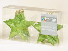 12 x Apple GREEN Glitter Stars shatterproof Christmas tree Baubles Decorations