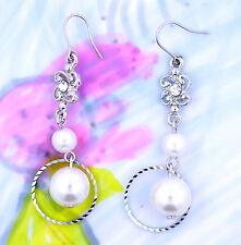 Silberfarben blume creole und perle chandellier ohrringe