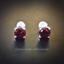 Feine Dunkel Rote Zirkonia Solitär Ohrstecker 925 Silber rhodiniert 6 mm