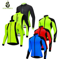 Mens Cycling Jacket Winter Thermal Softshell Fleece Windproof Long Sleeve Coat