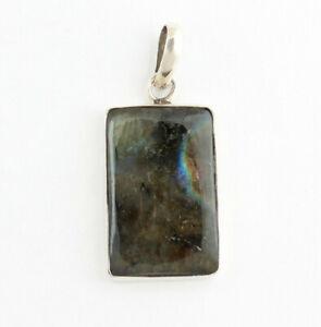 Labradorite Pendant Precious Stone Pendant 925 Silver Jewelry Blue Sheen Square