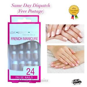24x Daily Wear Pink French Manicure & Toe Nail False Nails GLUE INCLUDED