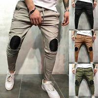 Men Harem Comfort Slim Fit Sports Cargo Pants Stretch Joggers Work Jeans Trouser