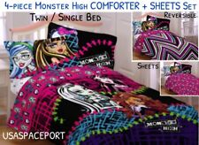 4-pc Monster High Ghouls Rule Twin/Single Comforter +Sheets Set Bed in a Bag