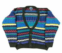 VTG 90s Etchings Coogi Style Cardigan Sweater Mens L Biggie Cosby Multicolor
