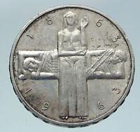 1963 B Switzerland RED CROSS Nurse & Patient 5 Francs Silver Swiss Coin i86362