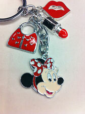 MINNIE Mouse  RED PURSE LIPSTICK ENAMEL Charm Pendant MICKEY Mouse KEYCHAIN 1
