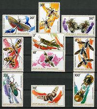 Rwanda 1973 MNH Insects 10v Set Flies Beetles Butterflies Moths Stamps
