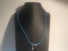 Nuevo - Collar PEARL DESIGN FRANCE - Hilo Azul + Perla Gris + Lagartija Plata