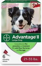Advantage Ii 21-55 lbs ,Large Dog Flea prevention, 6-pack Topical fragrance-free
