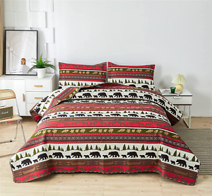 Bear Elk Log Cabin Lodge Rustic High Quality Quilt Bed Set - King, Queen, Twin
