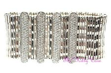 Designer Hollywood Glamour Wide Silver Bars Cuff Bracelet w/ Swarovski Crystals