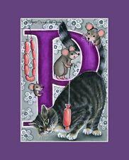 "Alphabet Cat ACEO Print Letter ""P"" by I Garmashova"