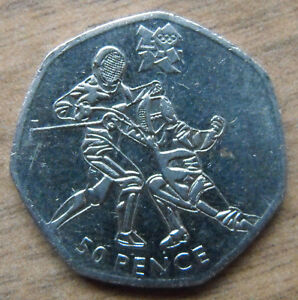 FENCING 50p FIFTY PENCE COIN 2011 - Limited Commemorative LONDON OLYMPICS 2012
