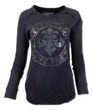 AFFLICTION Women's T-Shirt L/S DIVIO EMPIRE THERMAL Biker