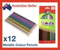 12 Pack Metallic Coloured Pencils Pencil Non-Toxic Art Render Artist Sketch Sets
