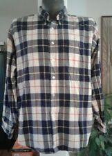 Vintage L L Bean Blue White Yellow Plaid Flannel Button Up Shirt XL USA