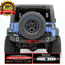 Rock Crawler Rear Bumper+Tire Carrier+RED LED Light fit 07-18 Jeep JK Wrangler