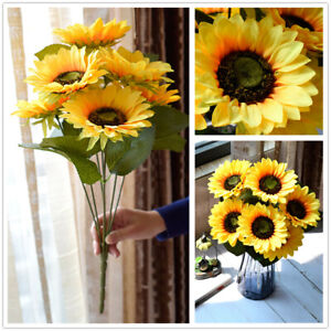 Artificial Large Sunflowers Bouquet Fake Silk Flowers Home Office Party Decor