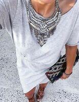 Stunning Tribal Bohemian Zara Silver Oversized Statement Necklace
