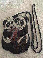 Exquisite Small Beaded Panda Design Purse Handbag Pocket Book w/ Shoulder Strap