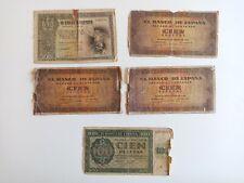 Lote 5 Billetes 100 (Burgos) y 500 Pesetas 1936-1940, Muy usados