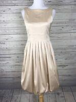 Maggy London Women's Champagne Sleeveless Pleated Bubble Hem Dress Size 10