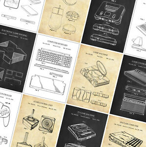Gaming PATENT Poster Prints - Classic Vintage Computer - Wall Art Home Posters