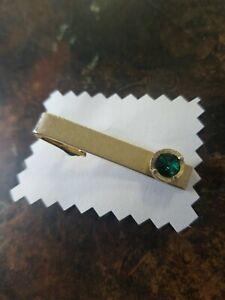 Vintage Tie Clip Gold Tone Metal Green Stone Signed Dante Men's Accessory