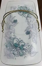 Vintage 1950's Rectangular Floral Cake / Sandwich Stand With Gilt Curved Handle.