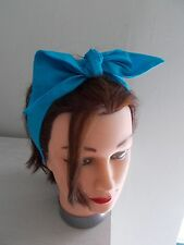 bright blue head band hair bow wrap bunny ears rockabilly land girl bunny 50s